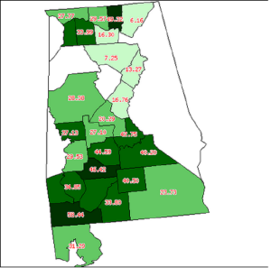 Percentage of Slaves in each county, 1820